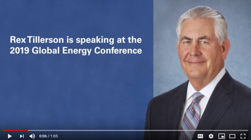 Rex Tillerson is speaking at KPMG's Global Energy Conference